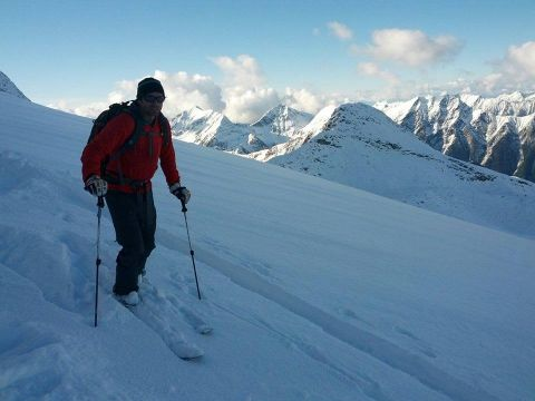 Backcountry skiing the New Denver Glacier