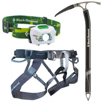 Black Diamond Storm Headlamp Venom Ice Axe and Couloir Harness