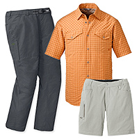 Outdoor Research Termini Shirt, Outdoor Research Ferrosi Shorts and Outdoor Research Equinox pants