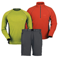Rab alpine shorts, Rab MeCo 120 short and long sleeve shirts and Rab Orbit Pull-on
