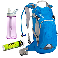 CamelBak L.U.X.E. pack Groove filtration bottle and Elixir tablets