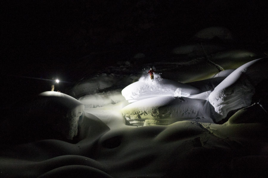 50,000 Lumens Lights Up Pillow Skiing at Journeyman Lodge