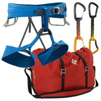 Black Diamond Solution Harness, Super Chute Rope Bag, Freewire and Positron Quickdraws